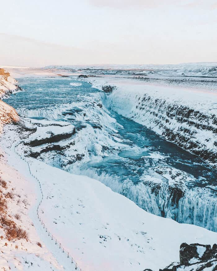 10 Best Things to do in Iceland in Winter. Visiting Iceland's waterfalls was one of the best things we did in Iceland. Gullfoss was incredible! What was your favorite place to visit in Iceland? #iceland #icelandwinter #europetravel #waterfall #avenlylane #avenlylanetravel