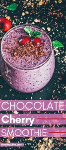 Chocolate cherry smoothie in a glass cup
