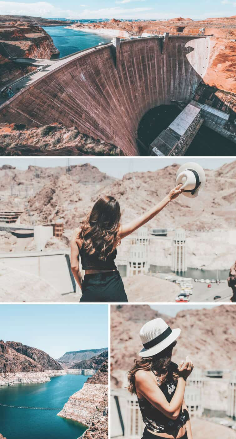 Hoover Dam in Vegas. 14 Unique things to do in Las Vegas! There are so many incredible places to see in Las Vegas, here are some of the top places you will not want to miss on your vacation! Including The Container Park in Downtown Vegas! #vegas #lasvegas #nevada #traveltips #travelblog #wanderlust #USA #travel #avenlylanetravel