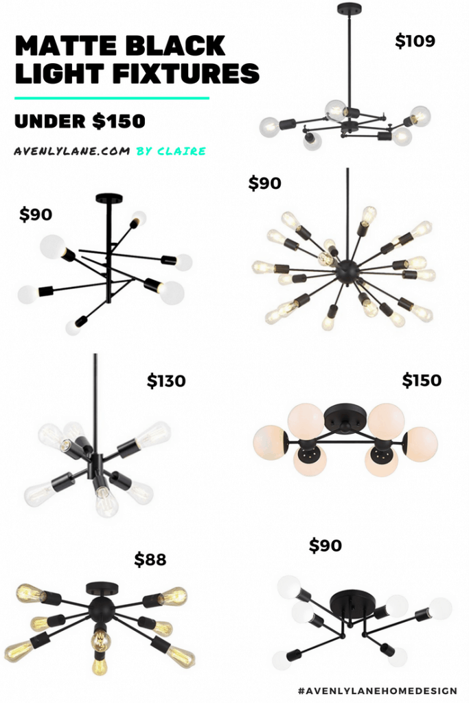 Modern Light Fixtures Under $150 (Matte Black)