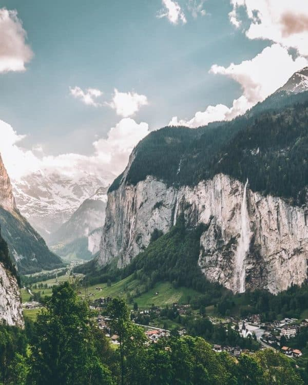 Lauterbrunnen, Switzerland. 15 prettiest towns in Switzerland! Aerial view of the Swiss town, Adelboden. One of the top things to see in Switzerland! If you are planning a road trip through Switzerland you do not want to miss these small towns! #avenlylanetravel #avenlylane #switzerland #europebucketlist #travel