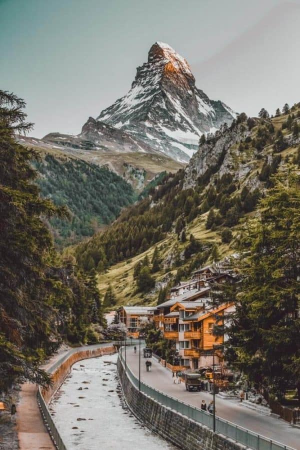 The 15 Prettiest Towns in Switzerland. Zermatt City and Matterhorn (One of the best places to ski in Switzerland). The 15 Prettiest Towns in Switzerland. If you are planning a road trip through Switzerland you HAVE to visit these 15 top places in Switzerland. They are incredible! See 14 others on www.avenlylane.com #avenlylanetravel #avenlylane #travelinspiration #travel #beautifulplaces #europe #switzerland