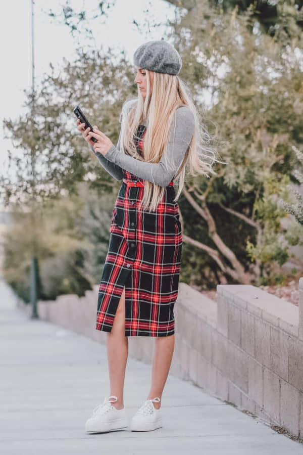 This Cute Plaid Dress Outfit is Perfect for Fall. Let me know what you think of this fall trend on www.avenlylane.com   #AVENLYLANE #dress #dresses #falloutfits #falldresses #fallstyle #styleinspiration #style #outfits #fashion #fallfashion