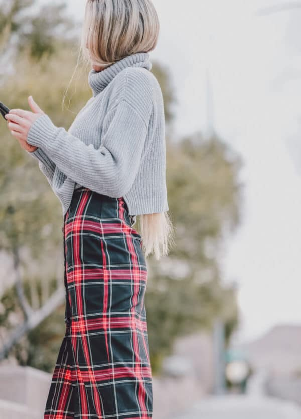 The Perfect Sweater, Plaid Dress and Boots Combo