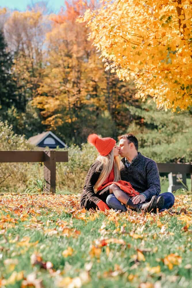 Fall leaves! Vermont's Best Kept Secret, Fall Photos Waterbury Reservoir. Our fall photoshoot for couples! #fall #autumn #fashion #fallfashion #fallleaves #vermont #AVENLYLANE #AVENLYLANETRAVEL #fallphotoshootcouples #falloutfits #fallphotography