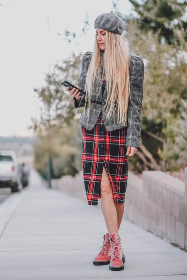 The Perfect Dress to Wear with a Blazer for Fall! Who doesn't love a good plaid blazer you can basically where with anything?